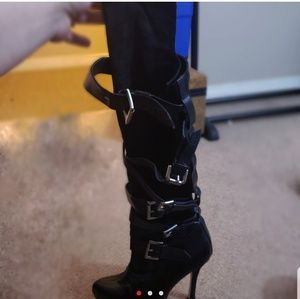 Shoes - Black knee high strappy boots with buckles